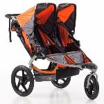 BOB Revolution SE Duallie Twin Double Premium All Terrain Stroller  ·Side by side double twin BOB jogger stroller rental   ·Perfect for infants & toddlers  ·Can accommodate 1 car seat  ·5 Point Safety Harness  ·Swivel or fixed front wheels  ·Has canopies, backrests, footrests, recline, cargo storage