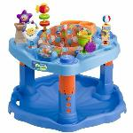 "Exersaucer •Encourages baby's mental & physical development  •Features a variety of shapes, colors & toys & allows a variety of rocking, bouncing & spinning activities  •3 height adjustments  •Use with children approx 4 months to walking age; max height 30""  •Folds flat for travel & storage"