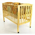 Solid Wood Full Size Folding Crib  ·Solid wood full size crib rental includes mattress, mattress cover and fitted sheet.   ·Complies with all current safety regulations and has fixed sides.   ·Sturdy, rolls and folds.